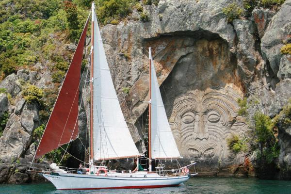 Sail on Lake Taupo Fearless - Māori Rock Carvings